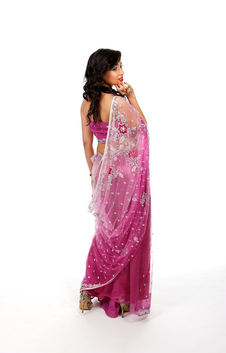 Flirty Rich Pink and Silver Fancy Net Sari