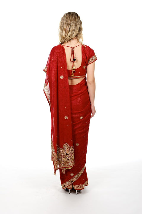 Dripping in Gold Classic Red & Gold Sari