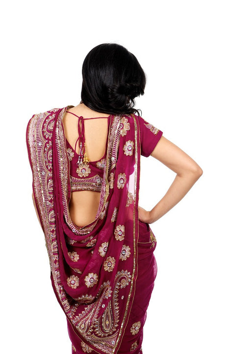 Feeling Marvelous in Magenta Modern Sari