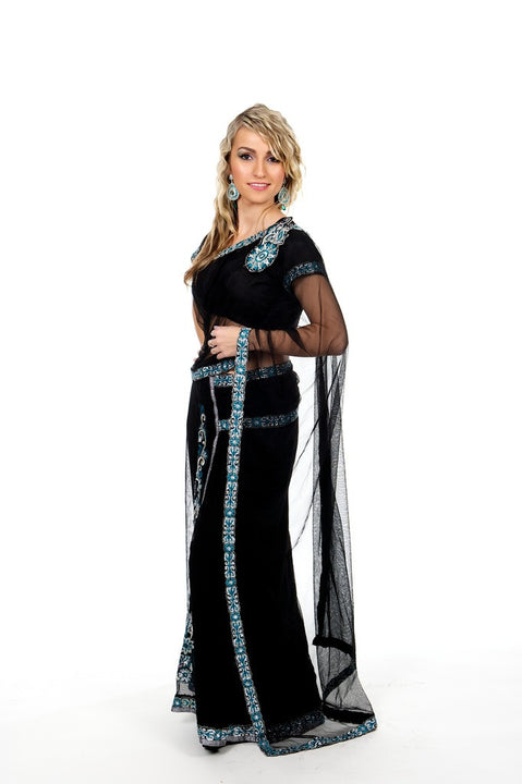 Black Sexy Sheer Ready-Made Sari