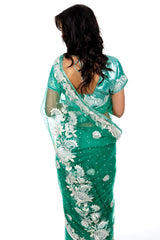 Green with White Flowers Net Sari