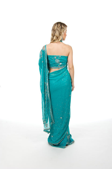 Trendsetting in Teal Fancy Net Sari