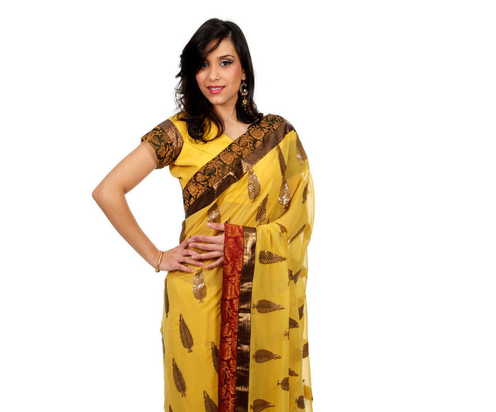 Leaves of Gold Party-Wear Sari