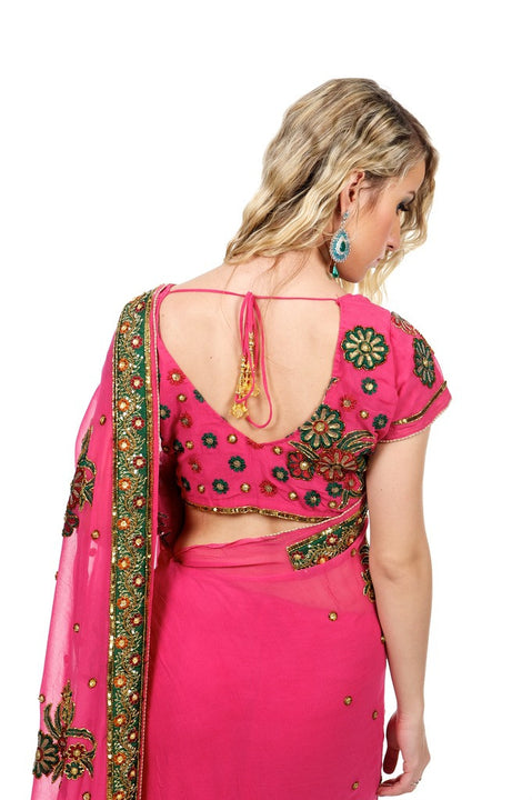 Fun and Flirty in Fuchsia Party-Wear Sari