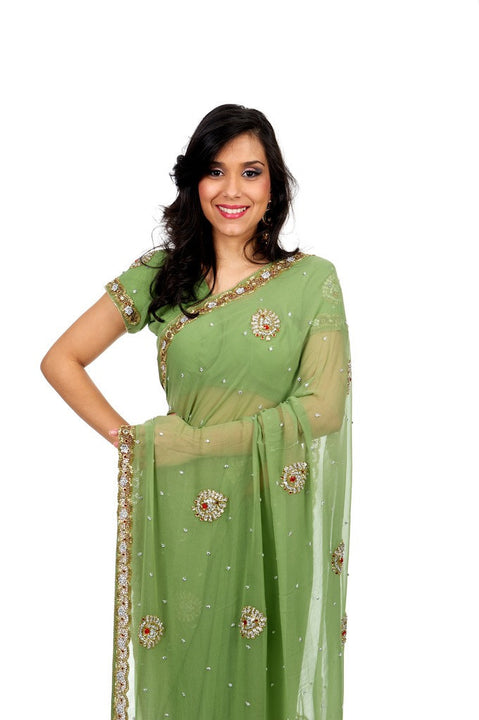 Soft and Subtle Elegant Green Sari