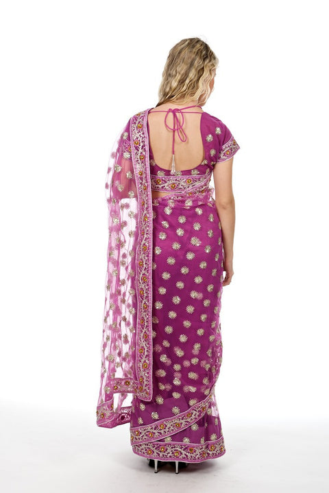 Dazzling Butterfly Pink Fancy Net Sari