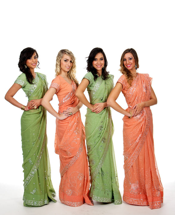 Co-ordinating Colors Bridesmaid Saris