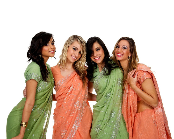 Peach and Pista Color Coordinated Bridesmaid Saris