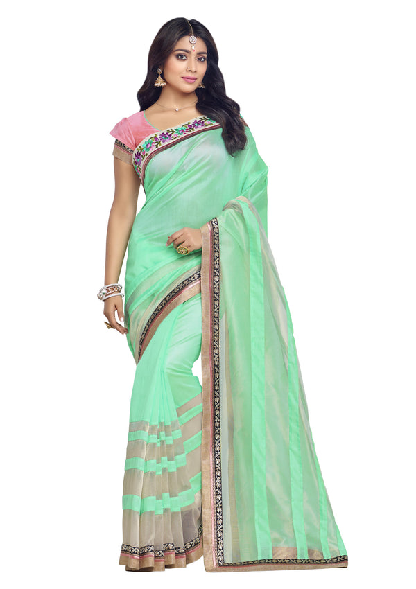 Lovely Light Green and Organza Tissue Silk Saree