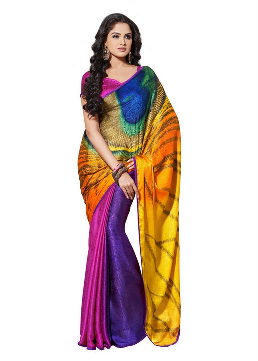 Charming Multi-Color Shaded Peacock Print Satin Designer Saree D-112