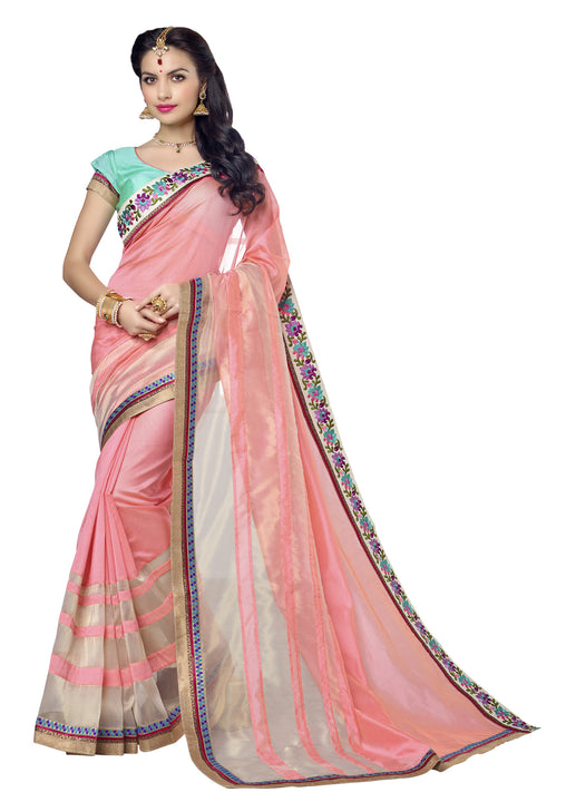 Lovely Light Pink and Organza Tissue Silk Saree