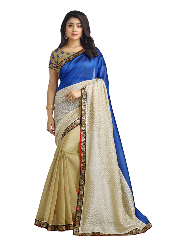 Blue Silk Brasso - Organza Stripe  Silk Saree