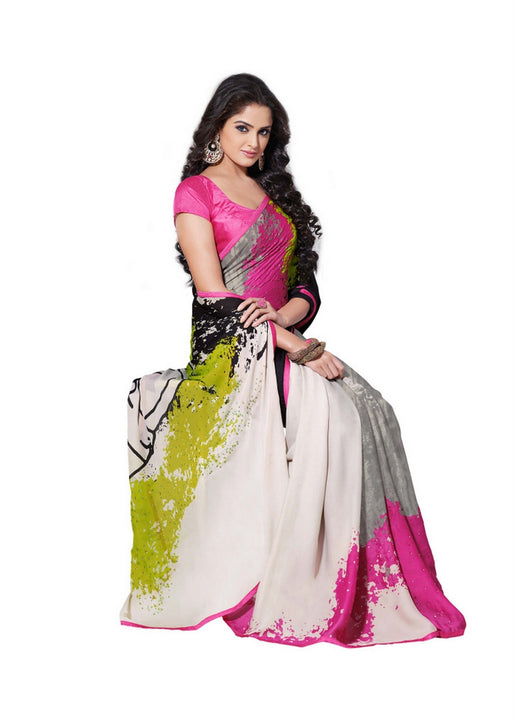 Scintillating Designer Graphic Printed Black and Pink Satin Saree D-114