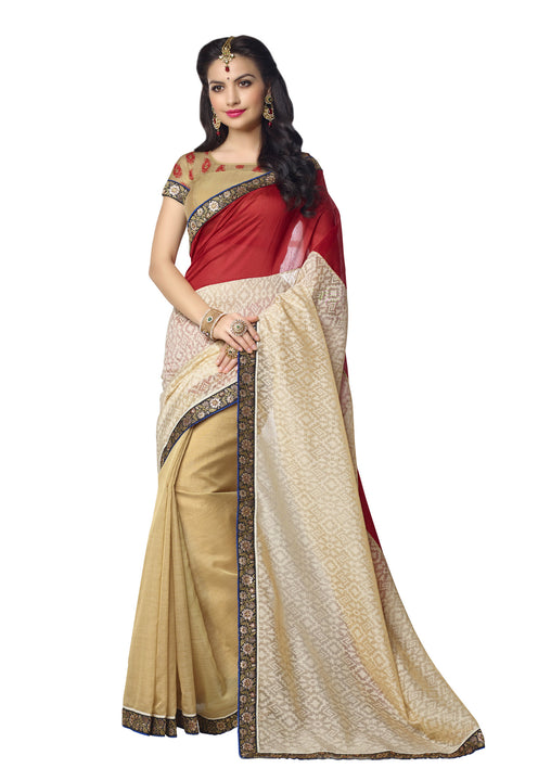 Red- silk Brasso - Organza stripe  Silk Saree