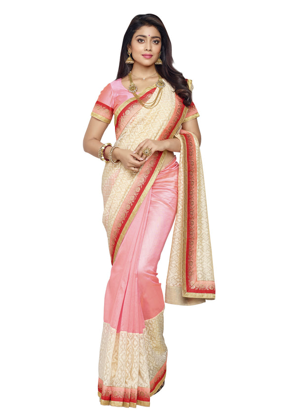 Beautiful Light Pink and Silk Brasso Silk Saree