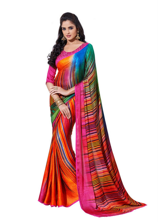Shaded Multi-Colored Graphic Print Designer Satin Saree D-116