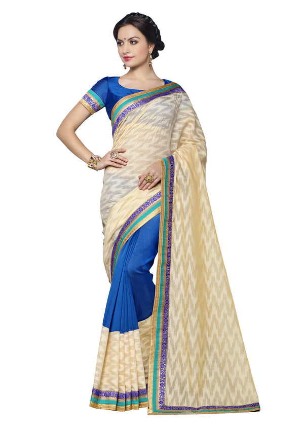 Beautiful Royal blue  and Cream Brasso Silk Saree