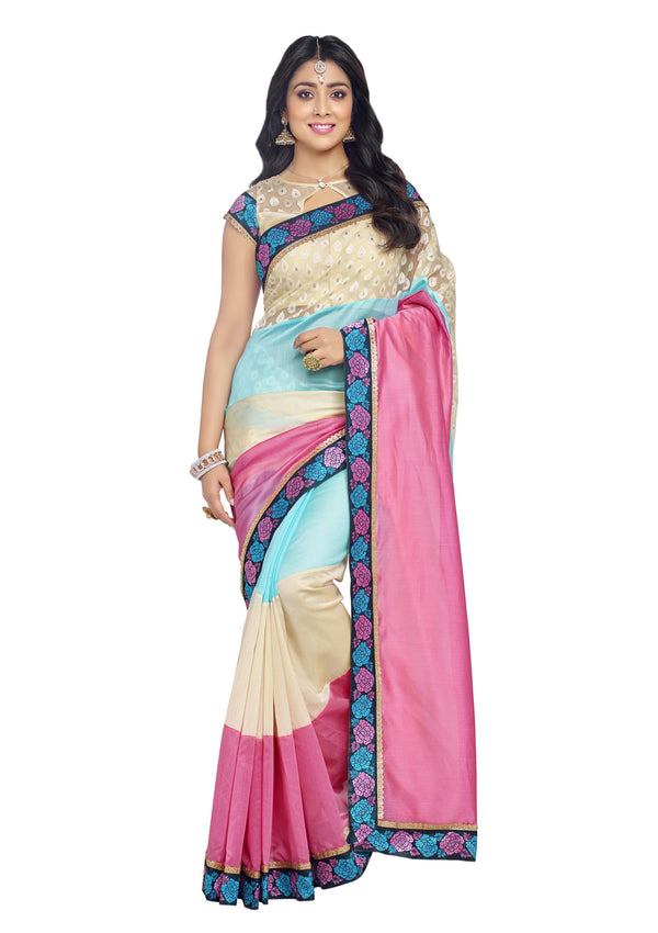 Lovely pink & Blue silk Organza Silk Saree
