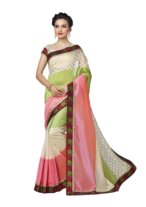 Lovely Pink & Green Silk Organza Silk Saree