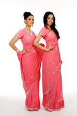 Coral Matching Bridesmaid Saris