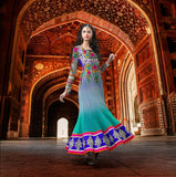 Blue Faux Georgette Long Net Anarkali D. No. 1521-A)
