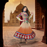 Ravishing Cream and Orange Taj Long Anarkali Churidar (D. No. 1521-B)