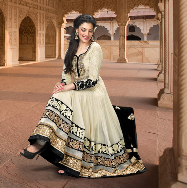 Cream Embroidered Long Anarkali Salwar Kameez (D. No. 1523-A)