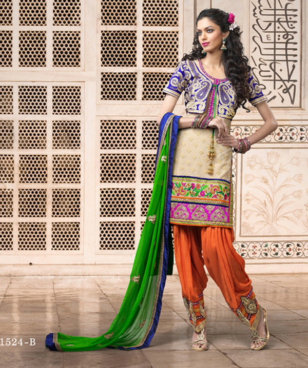 Beige Brown and Royal Blue Tantalizing Punjabi Salwar Kameez (D. No. 1524-B)