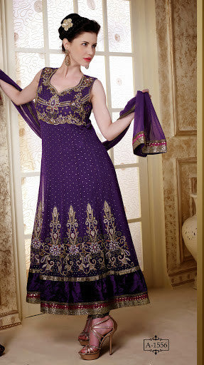 Beautiful Purple Anarkali with Stonework