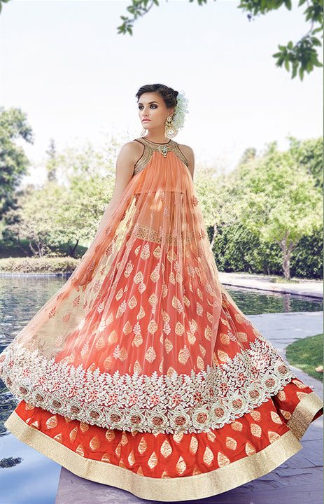 Majestic Beauty in Peach Gown