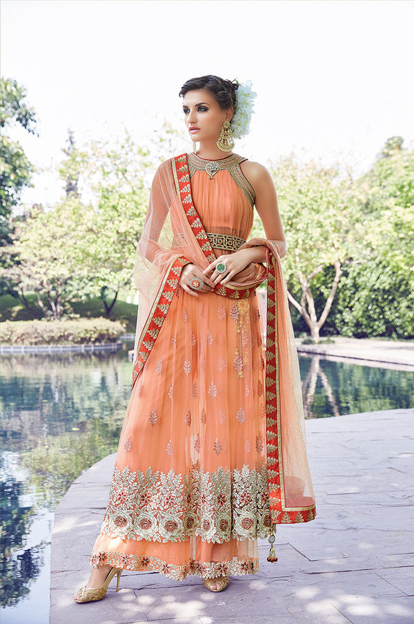 Elegant Beauty in Peach Lehenga