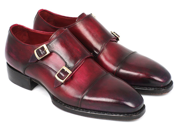 Paul Parkman Triple Leather Sole Hand-Welted Cap Toe Monkstraps Shoes (LX77MNK)