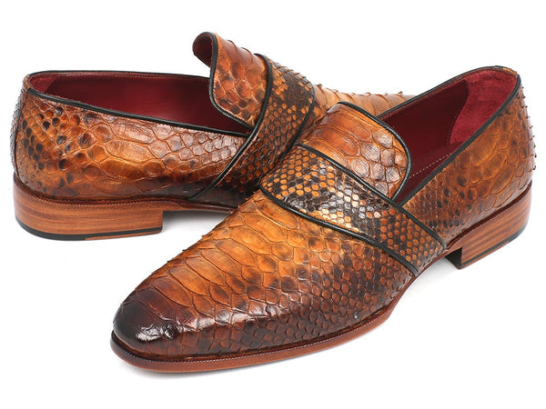 Paul Parkman Men's Genuine Python Loafers Camel Shoes (ID#11CML94)