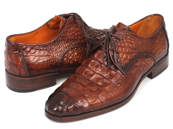 Paul Parkman Men's Light Brown Crocodile Embossed Calfskin Derby Shoes (1438TAB)