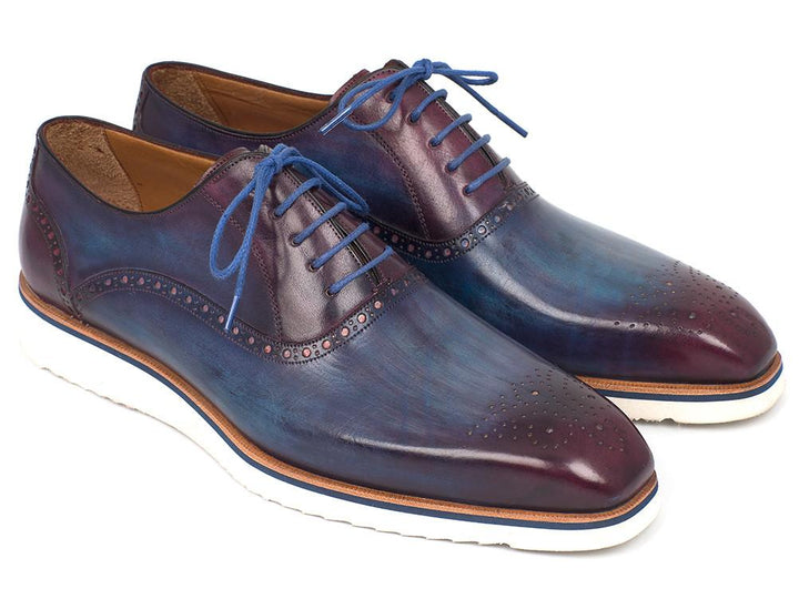 Paul Parkman Smart Casual Men Blue & Purple Oxford Shoes (ID#184SNK-BLU)