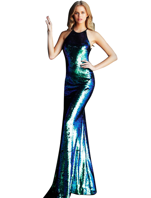 Jovani Multi Sequin Fitted Crew Neck Prom Dress