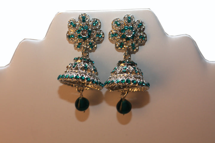 Silver Blue Diamond Jumkha Earrings