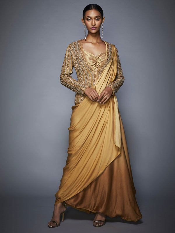 RI Ritu Kumar Gold High-Low Draped Saree With Stitched Blouse & Jacket