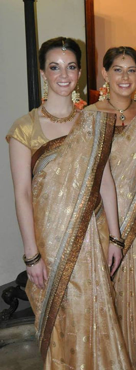 Royal Look Gold Matching Bridesmaid Saris