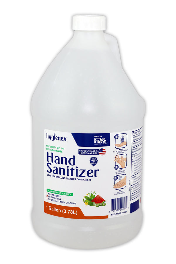 Hygienex Hand Sanitizer Gel 1 Gallon Refill 128 Oz, Cucumber Melon Scented, Made in USA, 72% Alcohol