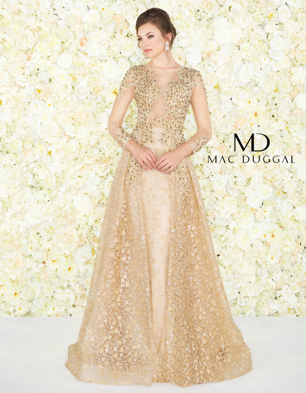 Mac Duggal Couture Long Sleeve Embellished Top Gold Gown