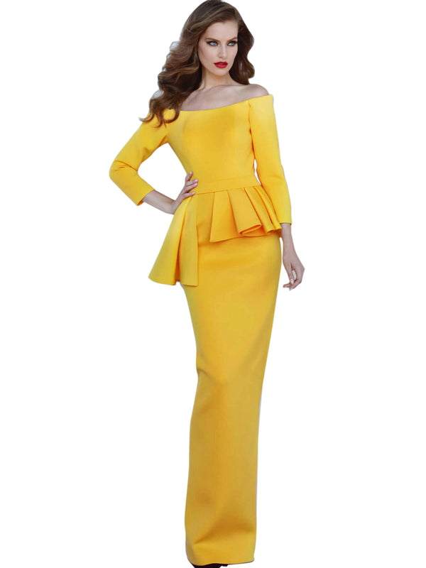 Jovani Yellow Off the Shoulder Fitted Evening Dress