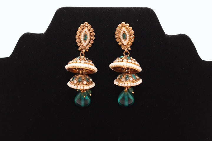 Green Pearl Drop Jumkha Earrings