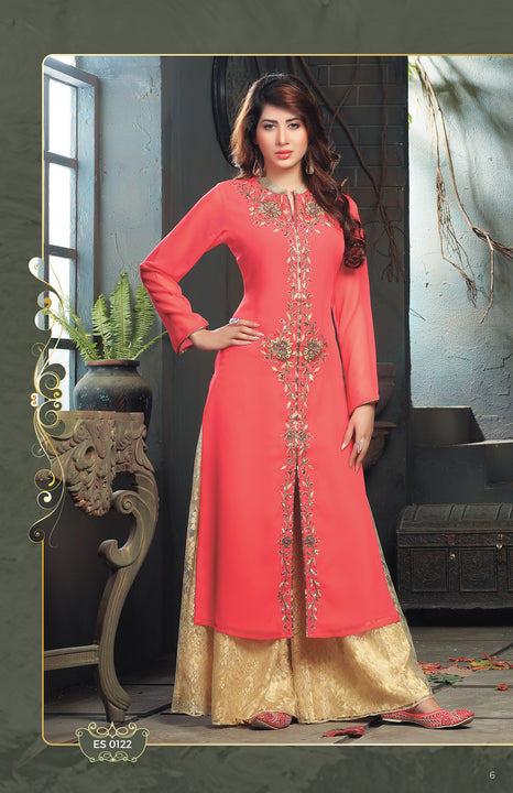 Coral Sunrise Kurti Salwar Kameez with Palazzo Pants