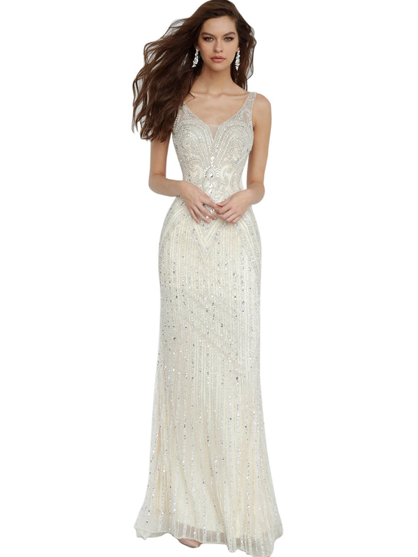 Jovani Champagne Fitted Embellished Sleeveless Dress