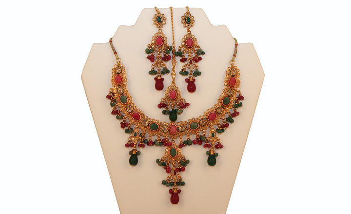 Traditional Indian Necklace, Earrings, Tika Set