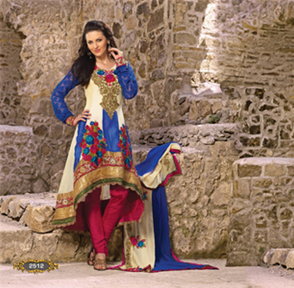 Cream Royal Blue Georgette Shimmer Anarkali Salwar Kameez (D. No. 2512)