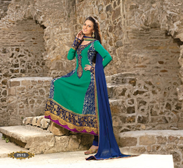 Blue and Green Neck Embroidered Anarkali Salwar Kameez (D. No. 2513)