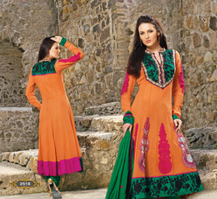 Orange Georgette Long Anarkali Salwar Kameez (D. No. 2518)