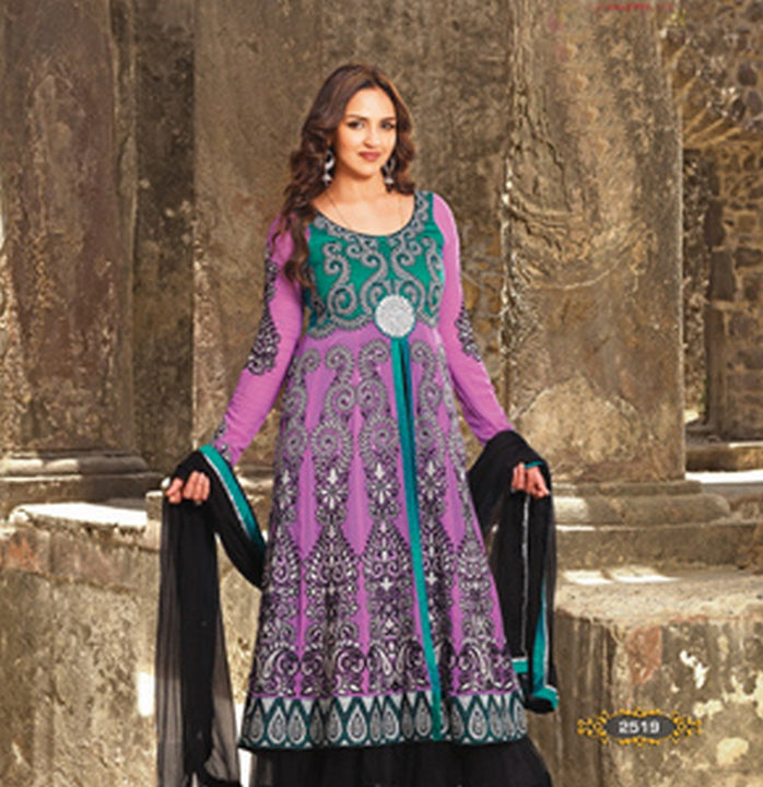 Lavender Full Embroidered Long Anarkali Salwar Kameez (D. No. 2519)